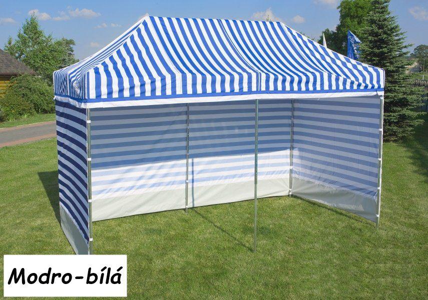 Záhradný párty stan PROFI STEEL 3 x 3 - modro-biela pruhovaná