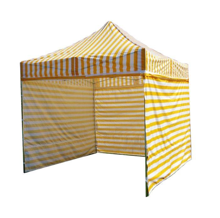 Záhradný párty stan PROFI STEEL 3 x 3 - žlto-biela pruhovaná