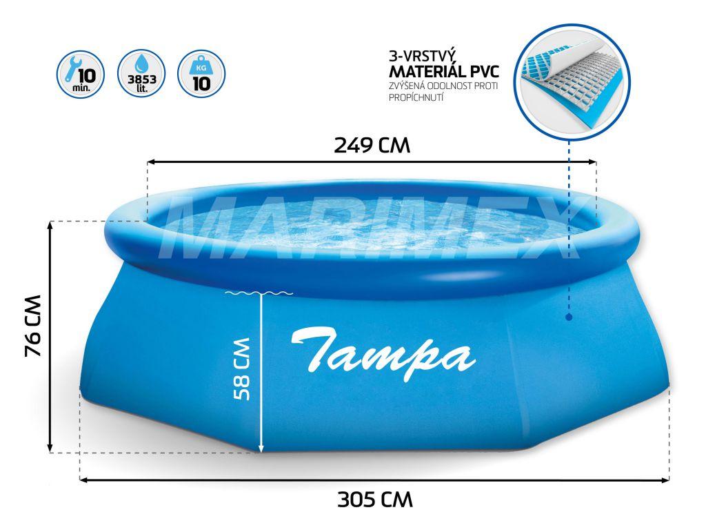 Bazén Tampa 3,05 x 0,76 m bez filtrácie