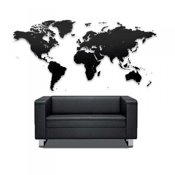 Puzzle mapa světa XXL (150x90) - černá
