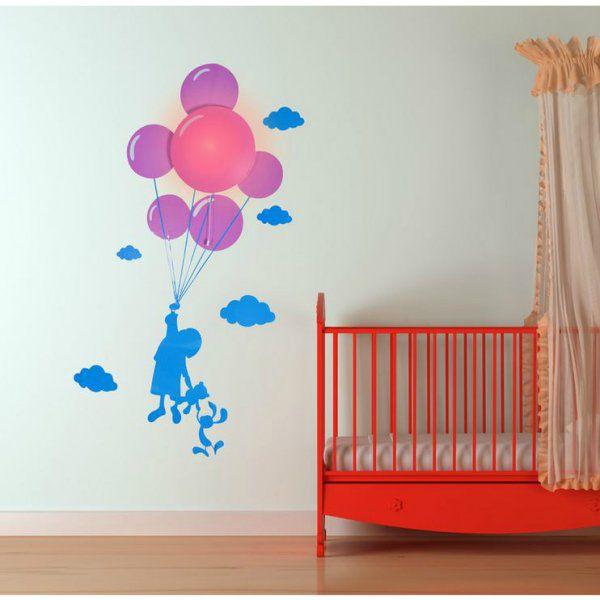 Samolepka a svetlo na stenu - dieťa s balónmi