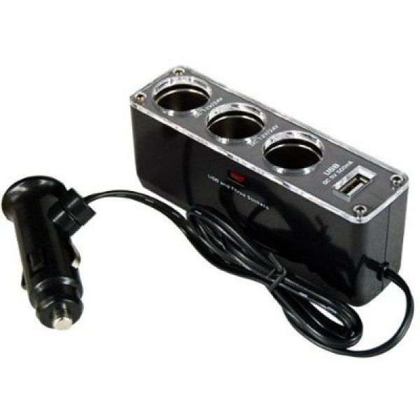 4 v 1 nabíjací adaptér do auta - čierna