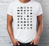 Cestovní tričko s ikonami - Černé - Velikost L