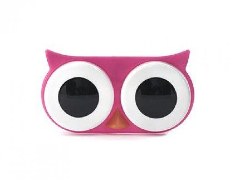 Pouzdro na kontaktní čočky - sova - růžová