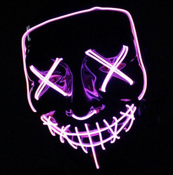 Maska so svetelným efektom - The Purge - ružovo-biela