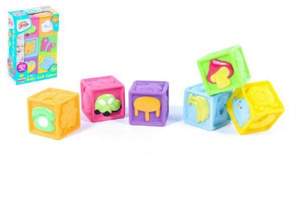 Dětské pískací kostky gumové 6ks v krabici 16x23x6cm 6m+