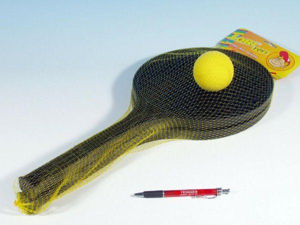 Soft tenis plast černý+míček 53cm v síťce