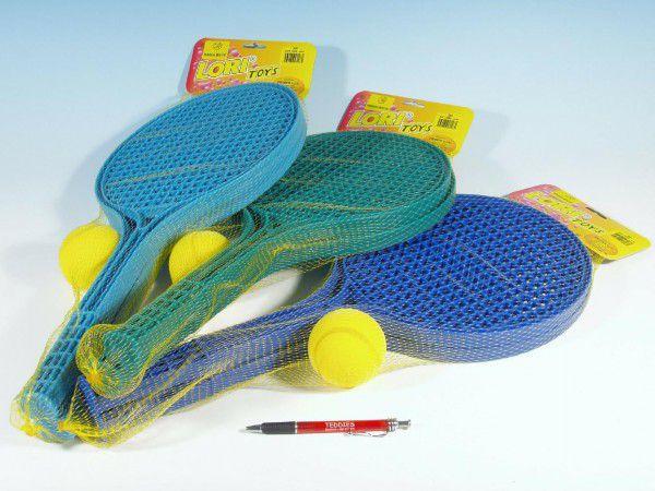 Soft tenis plast barevný+míček 53cm v síťce