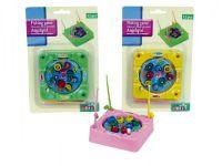 Hra Ryby/rybář společenská hra 9,5x9,5cm - 8 ryb a 3 pruty - 3 barvy