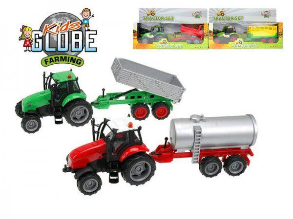 Traktor s vlečkou kov 25cm na setrvačník na baterie se zvukem se světlem asst 4 druhy v kr