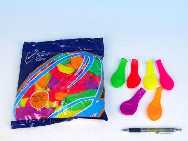 """Balonek nafukovací 7"""" párty neon 100 ks v sáčku 22x28cm karneval"""