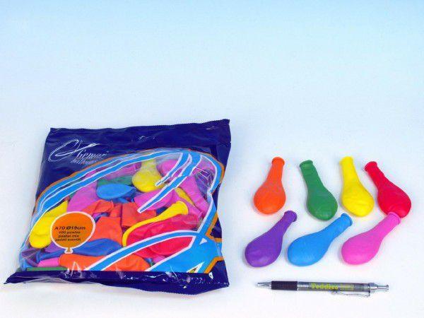 """Balonek nafukovací 7"""" průměr 19cm 100ks v sáčku karneval"""