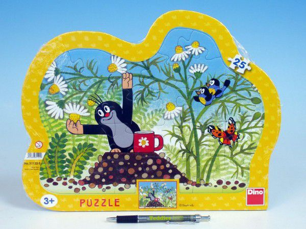 Puzzle deskové Krtek s hrníčkem kontura 36x28cm 25 dílků