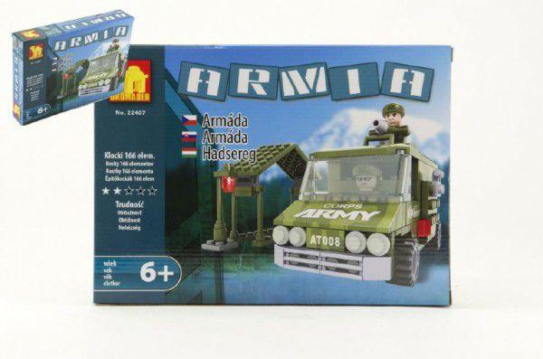 Stavebnice Dromader Vojáci Auto 22407 166ks v krabici 25,5x18,5x4,5cm