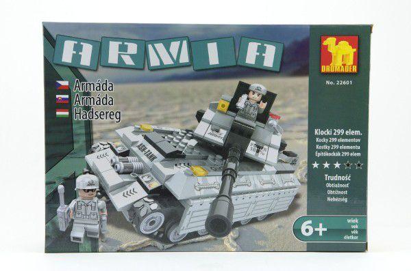 Stavebnice Dromader Vojáci Tank 22601 299ks v krabici 35x25,5x5,5cm