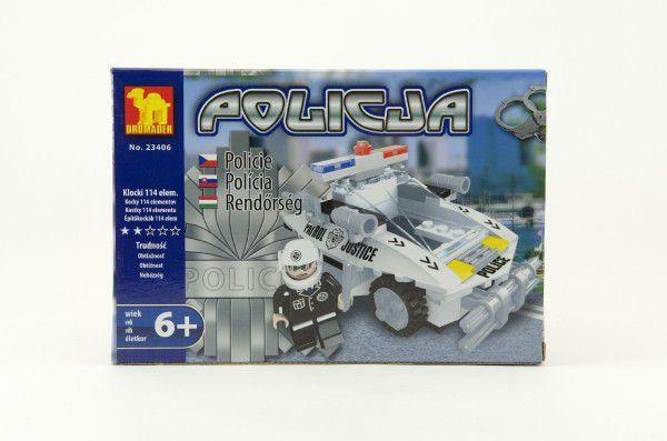 Stavebnice Dromader Policie Auto 23406 114ks v krabici 22x15x4,5cm
