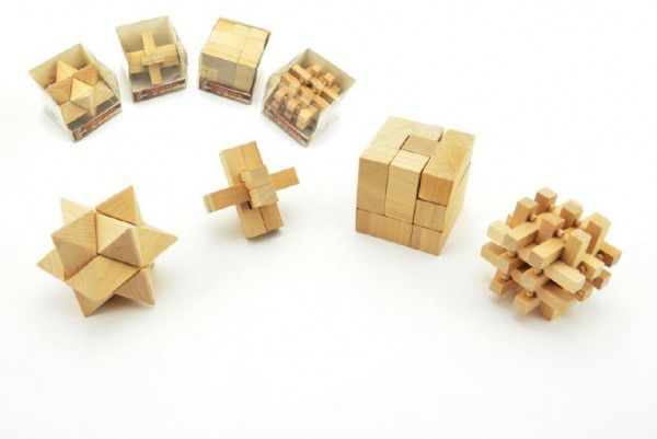 Hlavolam dřevo 7cm - 4 druhy
