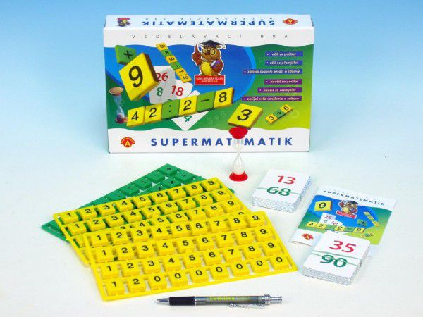 Supermatematik společenská hra naučná v krabici 29x19cm