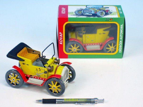Dědeček automobil pérový strojek kov 13cm v krabičce Kovap