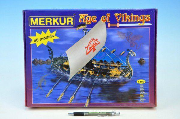 Stavebnice MERKUR Age of Vikings 40 modelů 1350ks v krabici 36x27x5,5cm