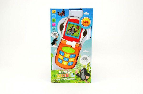 Krtkův mobil telefon měnící obrázky Krtek plast se světlem a se zvukem v krabičce 12x21x5cm 6m+