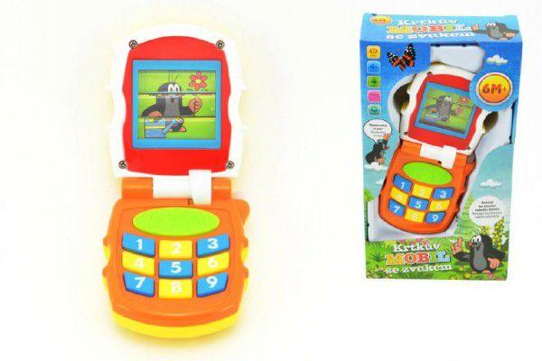 Krtkův mobil telefon měnící obrázky Krtek plast se světlem a se zvukem v krabičce 12x21x5c