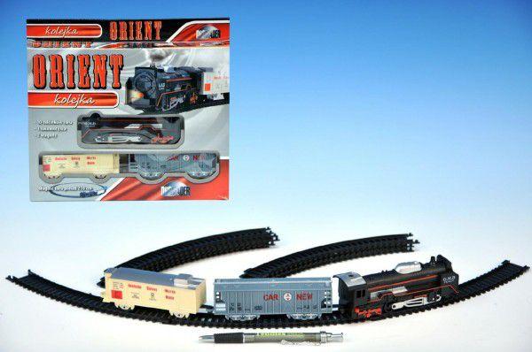 Orient Vlak + 2 vagóny délka dráhy 210cm na baterie se světlem v krabici