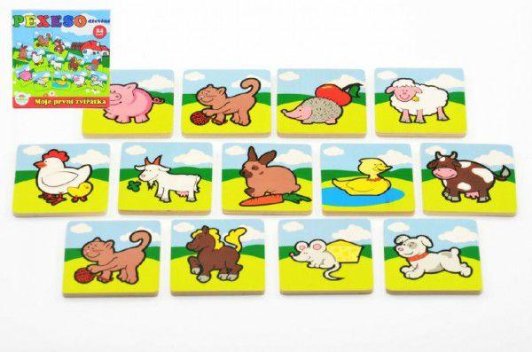 Pexeso Moje první zvířátka dřevěné 24 dílků pro nejmenší v krabičce 19,5x19,5x3,5cm 12m+ M