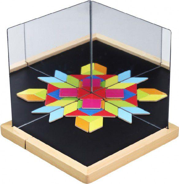 Magnetická tabulka se zrcadly dřevo 25x25x2,1cm 44ks