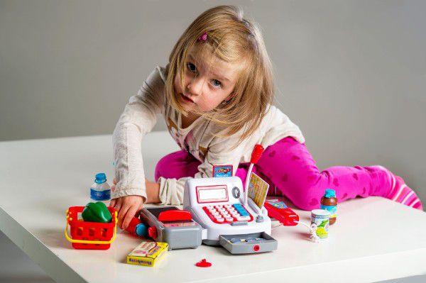 Pokladna digitální plast 30cm s doplňky na baterie se zvukem se světlem v krabici
