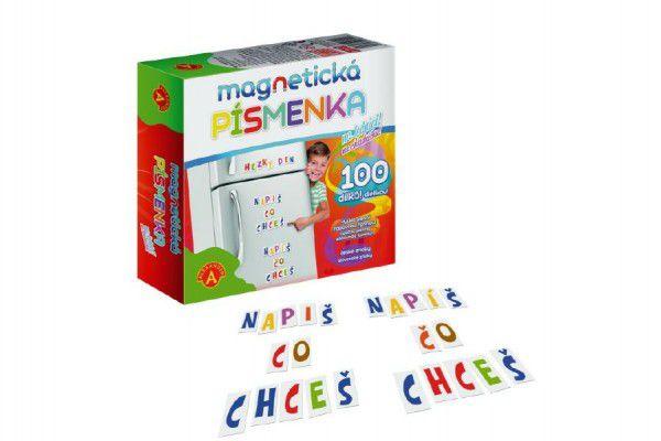 Magnetická písmenka na lednici 100 dílků v krabici 19x18x5cm