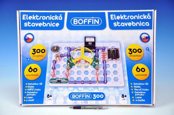 Stavebnice Boffin 300 elektronická 300 projektů na baterie 60ks v krabici 48x34x5cm