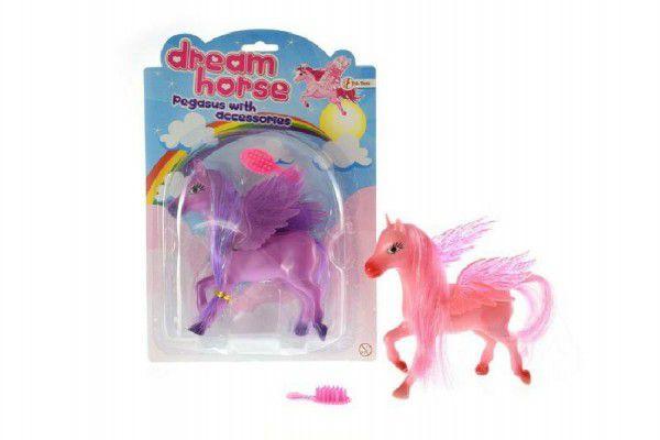 Kůň s křídly a s hřebenem plast 14cm asst 2 barvy na kartě