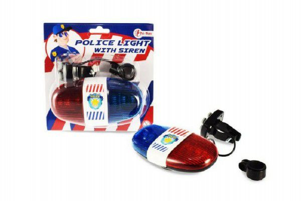 Policejní světlo na kolo plast 13cm na baterie se zvukem na kartě