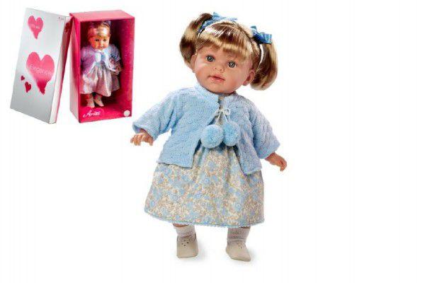 Panenka Arias vonící 42cm modré šaty smějící se měkké tělo na baterie v krabici
