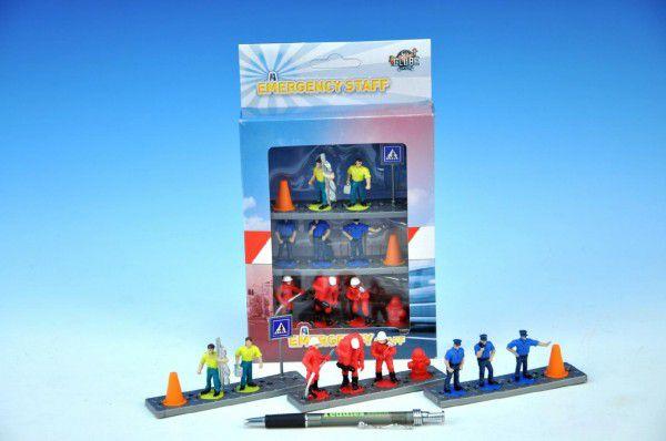 Figurky záchranáři plast 4cm - 8ks s doplňky