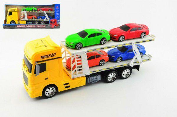 Auto přepravník + 4 auta plast 45cm na setrvačník asst 3 barvy v krabici