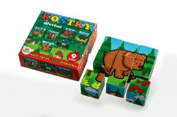Kostky kubus dřevěné Moje první zvířátka lesní dřevo 9x9x3cm 9ks v krab.11x11x6cm od 12 mě