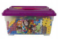 Stavebnice Blok plast 272 dílků + 8 koleček v plastovém boxu 38x19x26cm