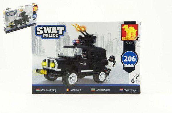 Stavebnice Dromader SWAT Policie Auto 206ks v krabici 32x21,5x5cm