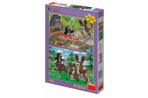 Puzzle Krtek a zajíci 2x66 dílků 32,3x22cm v krabici 23x33,5x3,5cm