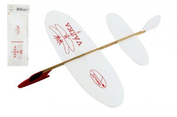 Letadlo Vážka házecí model polystyren/dřevo 39x31cm v sáčku