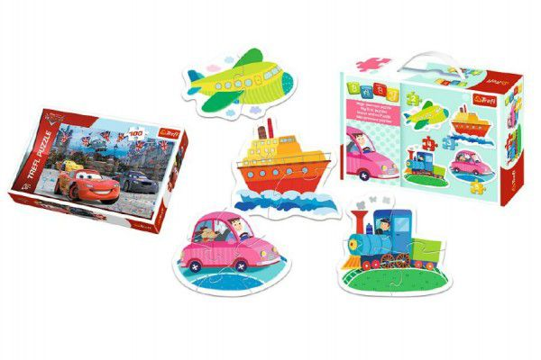 PACK Baby Puzzle Dopravní prostředky + Puzzle 100 dílků v krabici 29x19x10cm