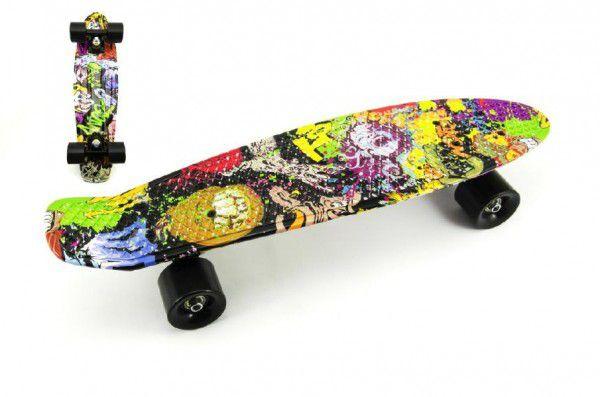 Skateboard - pennyboard 60cm nosnost 90kg potisk barevný, černé kovové osy, černá kola