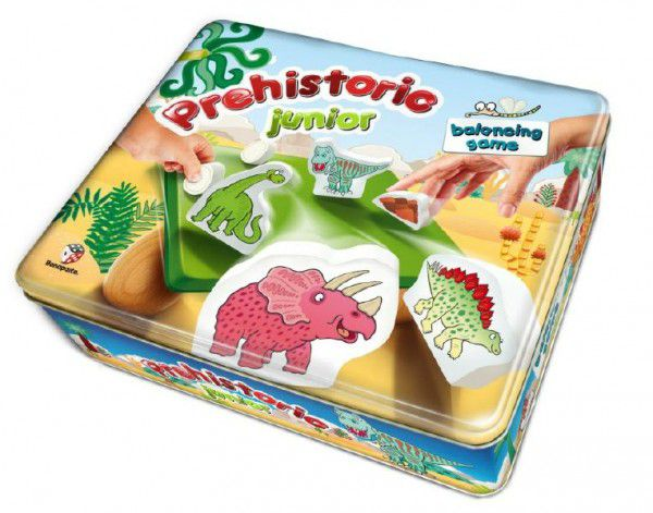 Balanční hra Prehistoric pro nejmenší dřevo v plechové krabici 24x20x7cm