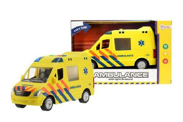 Auto ambulance plast 22cm na baterie se světlem se zvukem v krabici