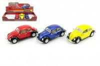 Auto Kinsmart Volkswagen Classical Beetle kov 17cm volný chod - 3 barvy