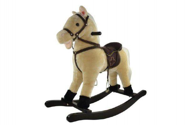 Kůň houpací béžový plyš nosnost 50kg v krabici