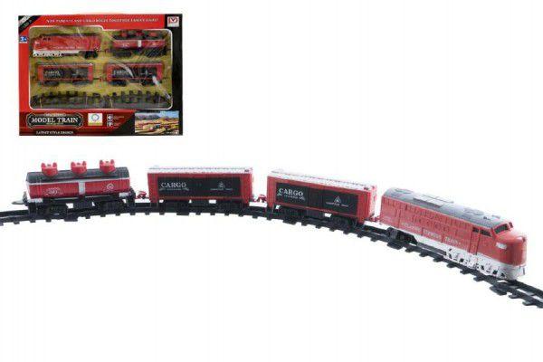Vlak 18cm + 3 vagóny s kolejemi 16ks plast na baterie se světlem se zvukem v krabici  43x3