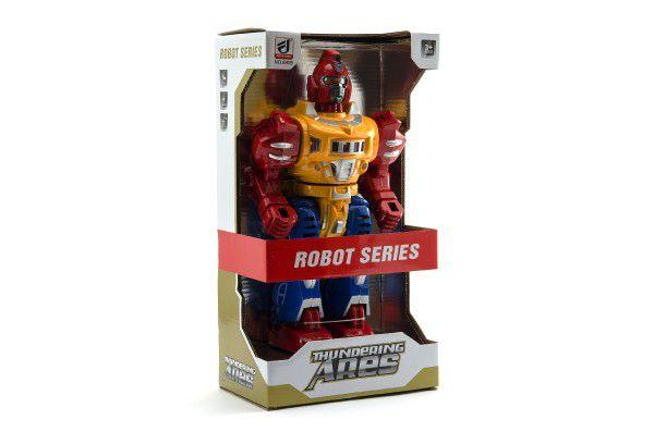 Robot chodící plast 30cm na baterie se světlem se zvukem v krabici